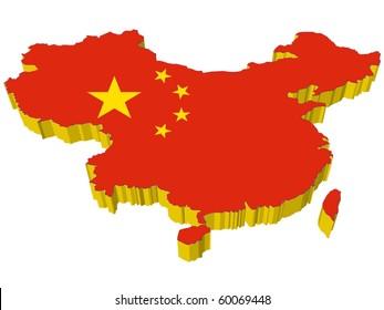 vectors 3D map of China