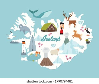 Vectors Iceland map poster. Animals and sights of Iceland. Reykjavik