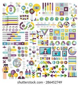 Vectors info graphics set and design elements.