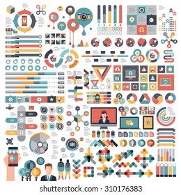 Vectors info graphics set and design elements.