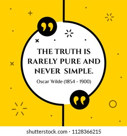 Vectors quote.  The truth is rarely pure and never simple. Oscar Wilde (1854 - 1900)