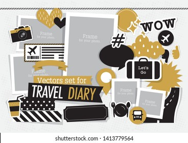 vectors set for travel diary and scrapbook