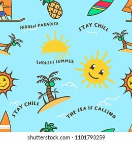 Vectorseamless pattern of summer beach holiday theme