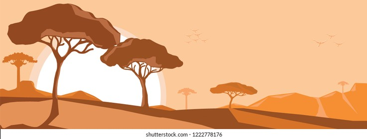 Vector-Silhouette of the African Savannah. Landscape of wild nature. Africa. Vector illustration