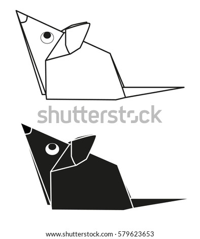 Vectorsilhouette Paper Origami Mouse Stock Vector Royalty Free