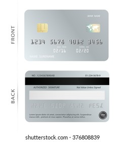 Vector/Silver credit debit card design template. To adapt idea for commercial business advertising and financial. illustration