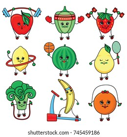 vectorsketch characters doing sport set. Apple, strawberry, pepper, lemon, watermelon, pear, broccoli banana, orange working out with dumbbell, hoola hoop, skipping rope, treadmill barbell, basketball