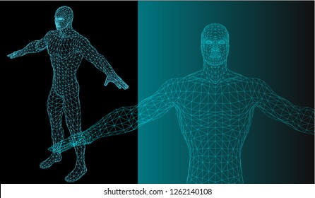 """Vector""""Strong healthy human body standing 3D model low poly design. Android robot humanoid optimal perfect man fitness sport shape. Polygonal ge..."""""""