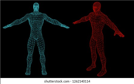 31f8f2095c289 Android robot humanoid optimal perfect man fitness sport shape. Polygonal