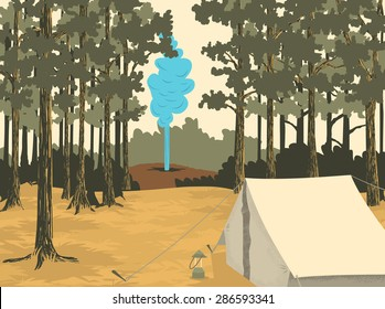 Vector-style illustration of a camp site at Yellowstone National Park with a geyser in the background.