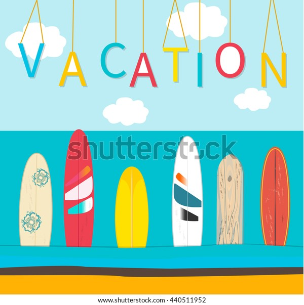 VectorVacation poster background. Sea, wind surfing boards, clouds. Vector illustration