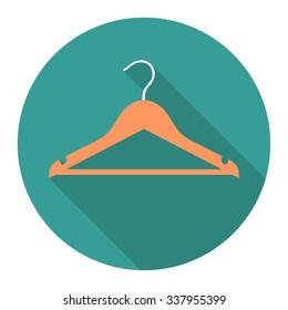 vectpr round flat icon with orange clothes hanger. EPS