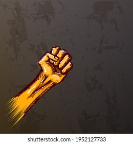 Vectro orange protest fist isolated on red grunge grey background. 1 may Labor day concept illustration with hand drawn doodle rised fist in the air. Mayday graphic banner design template