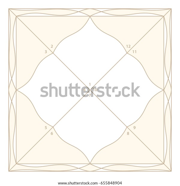 Vedic Astrology Diamond Form Chart Template Stock Vector (Royalty