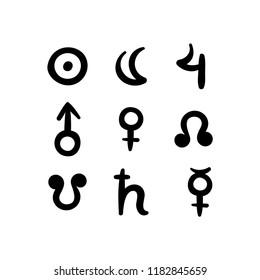 Vedic Astrology Jyotish Signs, graha. Surya, chandra, guru, mangal, shukra, rahu, ketu, shani, buddhi.