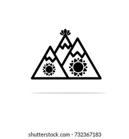 Vedic festival icon. Govardhan Puja symbol. Flat design. Vector Illustration.