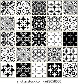 Veector navy blue tiles pattern, Azulejos - Portuguese seamless tile design, monochrome ceramics set