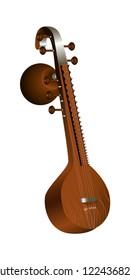Veena. Indian stringed plucked musical instrument. Vector illustration