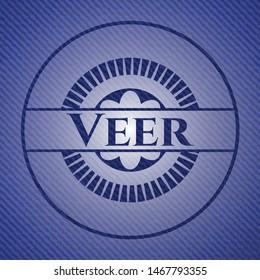 Veer badge with denim texture. Vector Illustration. Detailed.