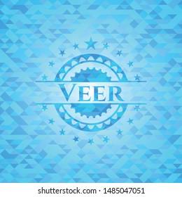 Veer realistic light blue mosaic emblem