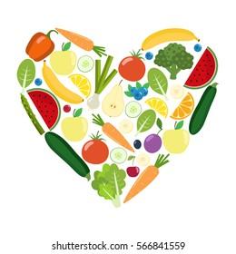 Veg heart. Organic farm illustration. Healthy lifestyle vector design elements. Healthy colorful vegetables, fruits, berries. Flat design.