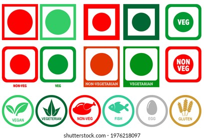 Veg, Non-Veg, Chicken, Fish, Egg and Gluten Icon Symbol Vector