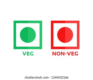 veg and non-veg minimal symbol. cartoon flat style trend modern foodie logotype graphic art design element isolated on white background