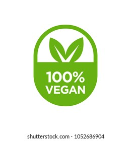 Vegan 100% icon. Isolated vector illustraion.
