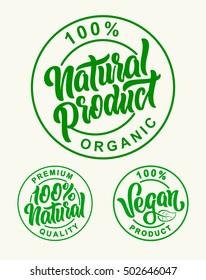 Vegan 100% Natural Product Vector Set Lettering Stamps Illustration.
