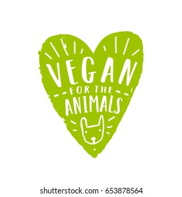 Vegan for animals. Green heart silhouette and hand drawn lettering.