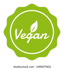 Vegan Badge Button with Icon.