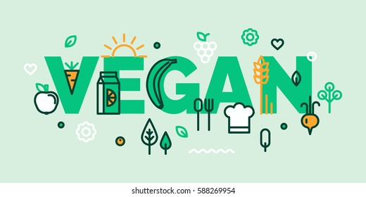 Vegan banner. For groceries, organic, vegan shops, local farms. Healthy lifestyle. Thin line flat design banners for desktop and mobile websites.
