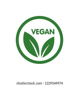 Vegan Bio, Ecology, Organic logo and icon, label, tag. Green leaf icon on white background.