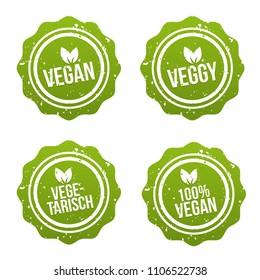 Vegan Button und Vegetarisch Banner Set. Vegan Badge Set.