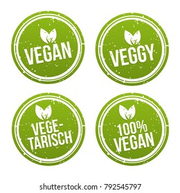 Vegan Button und Vegetarisch Banner Set. Vegan Badge Set.