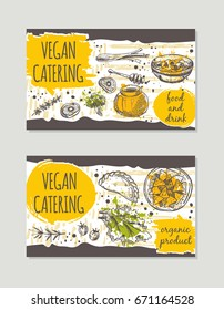 Vegan catering brochure flyer design. Retro background. Hand drawn vector illustration. Can be used for festival, menu, cafe, restaurant, bar, poster, banner, emblem, sticker, placard.