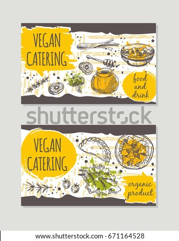 Vegan Catering Brochure Flyer Design Retro Background Hand Drawn Vector Illustration Can Be
