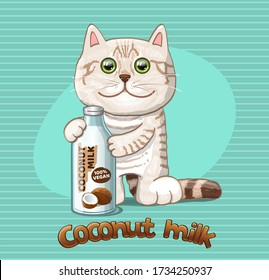Vegan Coconut milk and stripped cat. Vector Illustration