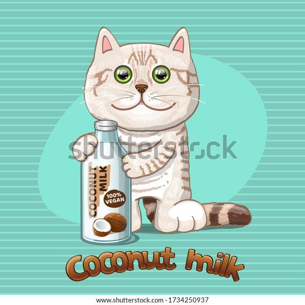 Vegan Coconut milk and stripped cat. Vector Illustration
