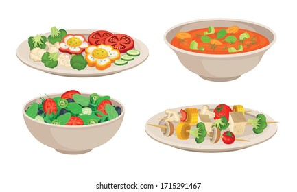 Vegan Dishes and Main Courses with Vegetable Salad and Thick Soup with Tomato Vector Set