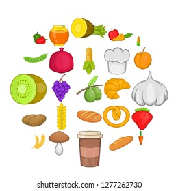 Vegan eatery icons set. Cartoon set of 25 vegan eatery vector icons for web isolated on white background