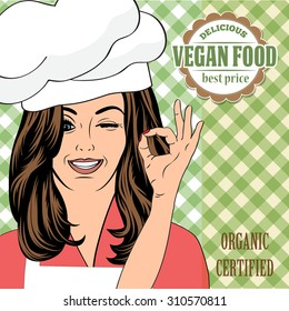 vegan food advertising banner with a beautiful lady, vector format