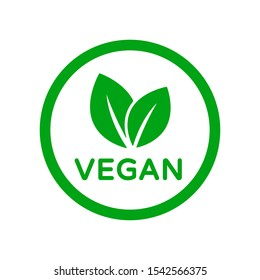 Vegan food diet icon. Organic, bio, eco symbol. Vegan, no meat, lactose free, healthy, fresh and nonviolent food. Round green vector illustration with leaves for stickers, labels and logos