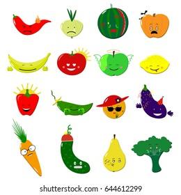Vegan food emoji. Fruits and vegetables with faces. VEctor illustration