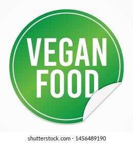 Vegan Food Green Sticker. Healthy Vector Design Art. Promotional Label Element. Badge White Background.