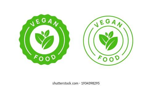 Vegan Food Icon Badge Sign Vector Design. Organic Product Logo.