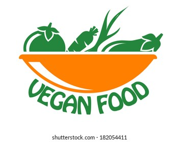 Vegan food icon in stylish green and orange with fresh vegetables logo in a bowl above the text,  isolated on white