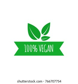 Vegan food icon. Vector elements for labels logos badges, stickers. Vector illustration.