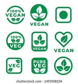 vegan food labels set in green colors