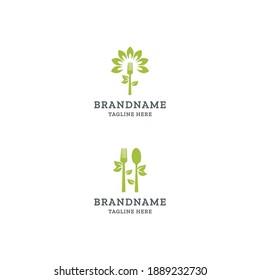 Vegan food logo icon design template. Fork, Spoon, leaf, modern vector